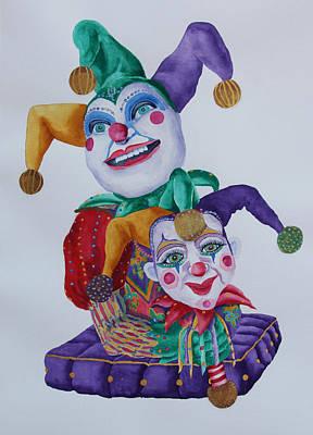 Mardi Gras Painting - Jesters On Bourbon Street  by Rhonda Leonard
