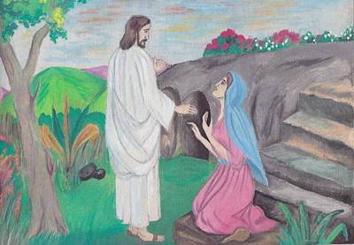Devotional Painting - Jesus And Mary Magdelen by Mary Joe