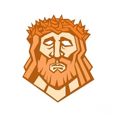 Jesus Christ Face Crown Thorns Retro Print by Aloysius Patrimonio