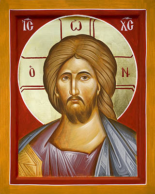 Byzantine Icon Painting - Jesus Christ by Julia Bridget Hayes