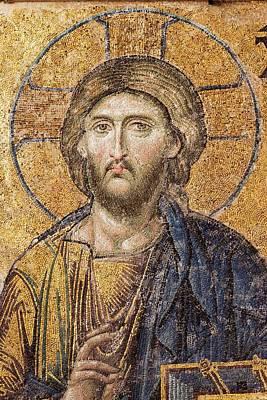 Christian Sacred Photograph - Jesus Christ Mozaic Hagia Sofia Mosque. by David Parker