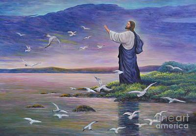 Jesus Feeds Birds Original by Isara Daengruan