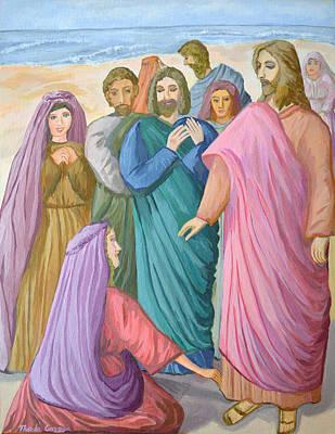 Peace Bleeding Painting - Jesus Heals The Woman by Thecla Correya