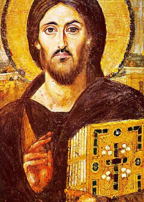 Jesus Icon At Saint Catherine Monastery Print by Munir Alawi