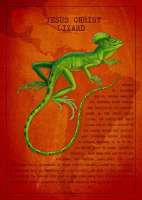 Iguana Drawing - Jesus Lizard by Aged Pixel