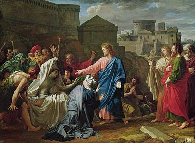 Resurrection Photograph - Jesus Resurrecting The Son Of The Widow Of Naim Oil On Canvas by Pierre Bouillon