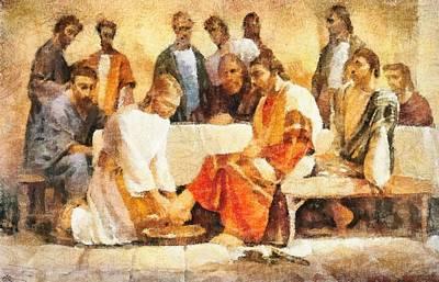 Jesus Washing Apostle's Feet Print by Dan Sproul