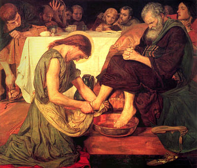 Jesus Washing The Feet Of The Disciples Print by Philip Ralley