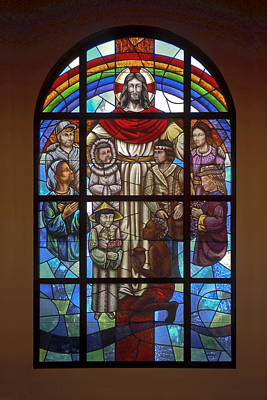 Jesus With Children Window Print by Sally Weigand