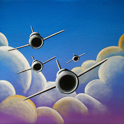 Airplane Painting - Jet Quartet by Cindy Thornton
