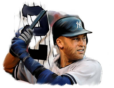 Athletes Drawing - Jeter II  Derek Jeter by Iconic Images Art Gallery David Pucciarelli