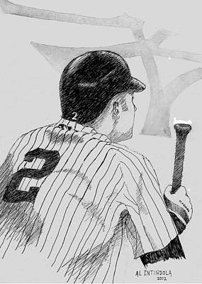 Jeter Drawing - Jeter On Deck by Al Intindola