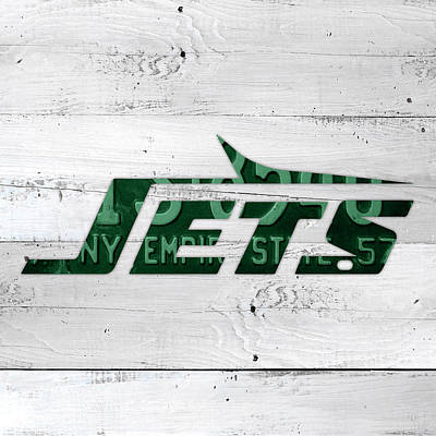 Jet Mixed Media - Jets Football Team Retro Logo New York License Plate Art by Design Turnpike