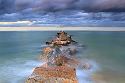 Ocean Photograph - Jetty Awash by Katherine Gendreau
