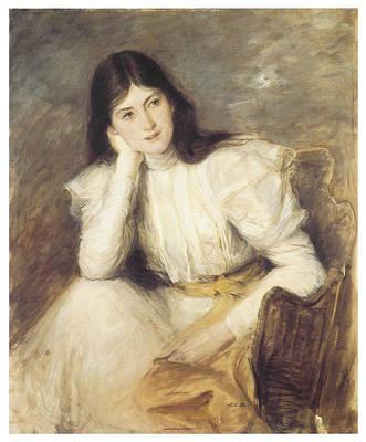 Jacques Painting - Jeune Fille Reveuse Portrait De Berthi Capel by Jacques-Emile Blanche