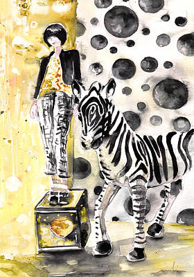 Zebra Drawing - Jeux De Seduction In Dublin 05 by Miki De Goodaboom