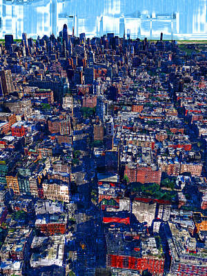 Nyc Mixed Media - Jeweled City by Russell Pierce