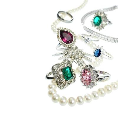 Jewellery With Gemstones And Diamonds Print by Science Photo Library