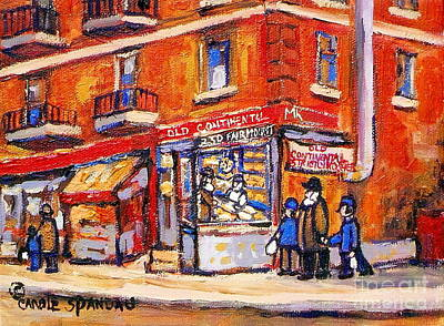 Montreal Memories Painting - Jewish Montreal Vintage City Scenes Old Continental Kosher Butcher Shop by Carole Spandau