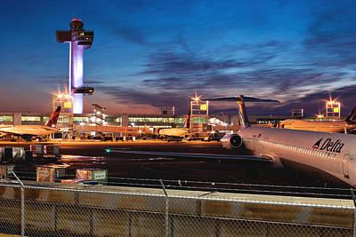 Jfk Airport Tower At Dawn Print by Jonathan Gewirtz