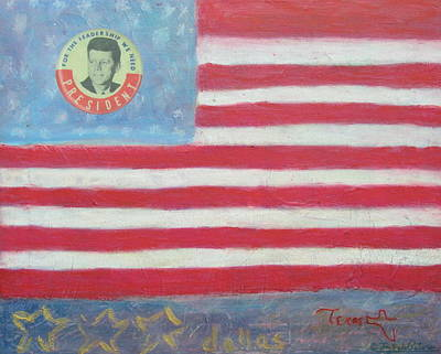 Democrat Mixed Media Painting - Jfk Americana by Jay Kyle Petersen
