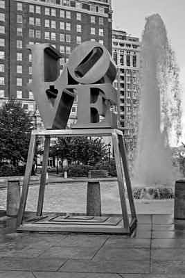 February 14th Photograph - Jfk Plaza Love Park Bw  by Susan Candelario