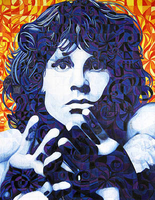 Chuck Drawing - Jim Morrison Chuck Close Style by Joshua Morton