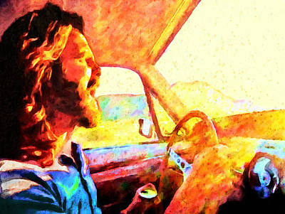 Ford Mustang Painting - Jim Morrison Driving A Stang by John Farr