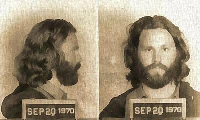Jim Morrison Mug Shot Print by Dan Sproul