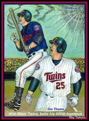 Jim Thome Hits 600th With Twins Print by Ray Tapajna