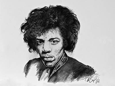 Stratocaster Drawing - Jimi by Art Imago