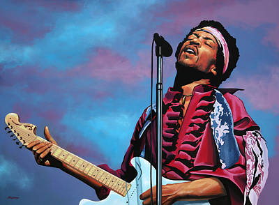 Flaming Painting - Jimi Hendrix Painting 2 by Paul Meijering