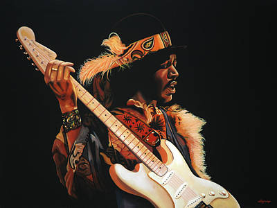 Jimi Hendrix Painting 3 Print by Paul Meijering