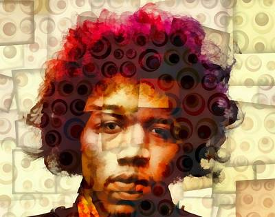 Jimi Hendrix Abstract Cubism Print by Dan Sproul