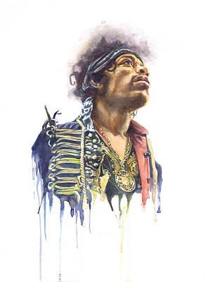 Drips Painting - Jimi Hendrix by Adrienne Norris