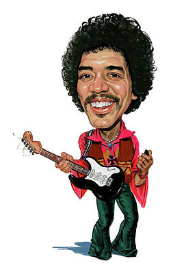 Caricature Painting - Jimi Hendrix by Art