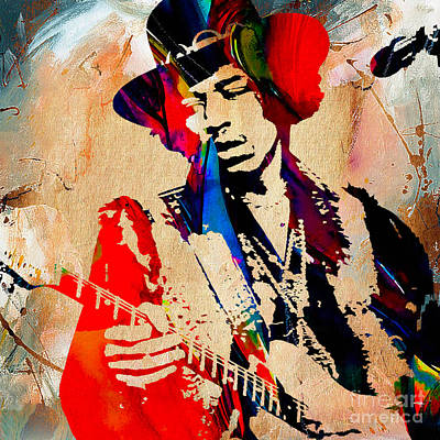 Stratocaster Mixed Media - Jimi Hendrix Duvet Cover by Marvin Blaine