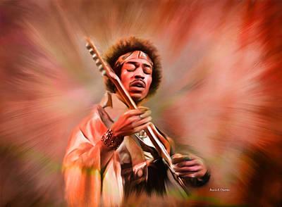 Jimi Hendrix Electrifying Guitar Play Print by Angela A Stanton