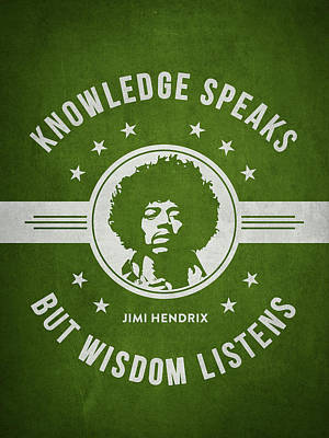 Jimi Hendrix Digital Art - Jimi Hendrix - Green by Aged Pixel