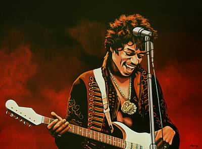 Flaming Painting - Jimi Hendrix Painting by Paul Meijering