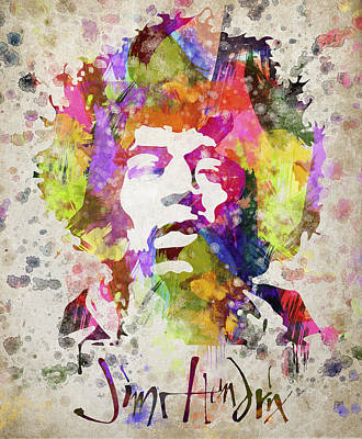 Bands Mixed Media - Jimi Hendrix Portrait by Aged Pixel