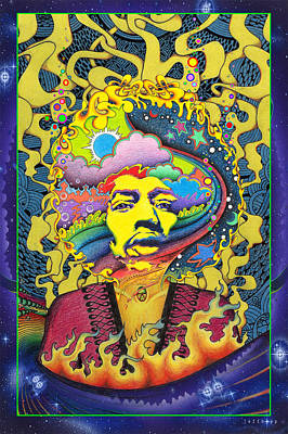 Jimi Hendrix Rainbow King Print by Jeff Hopp