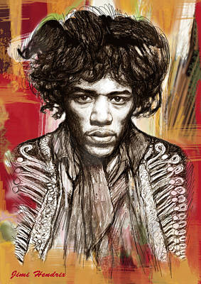 Most Popular Drawing - Jimi Hendrix Stylised Pop Art Drawing Potrait Poster by Kim Wang