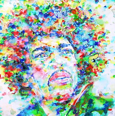 Jimi Hendrix  - Watercolor Portrait.3 Print by Fabrizio Cassetta