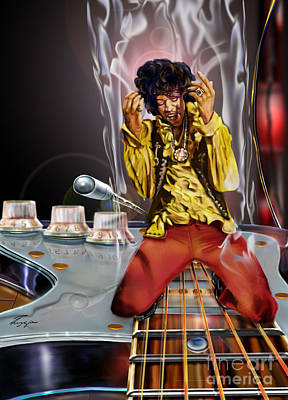 Jimi Up N Smoke - The Jimi Hendrix Series Print by Reggie Duffie