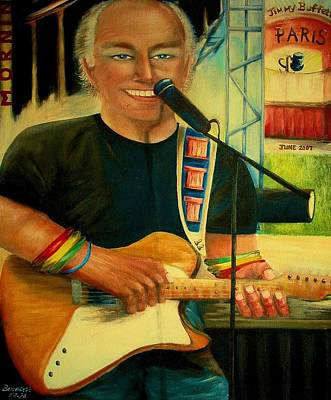 Jimmy Buffett Painting - Jimmy Buffett In Paris by Bernadette Krupa