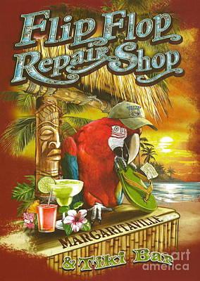 Jimmy Buffett's Flip Flop Repair Shop Print by Desiderata Gallery