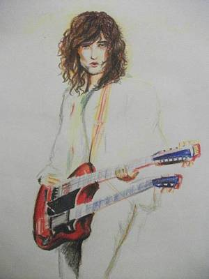 Jimmy Page Drawing - Jimmy Page by Andrea Carrasco