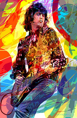 Jimmy Page Leds Lead Print by David Lloyd Glover