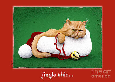 Humorous Cat Painting - Jingle This... by Will Bullas